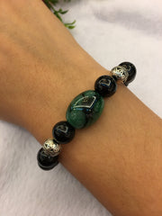 Dark Green Barrel & Black Jadeite Bracelet (BR116)