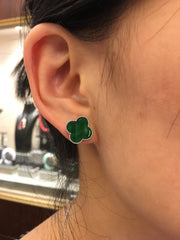 Green & Icy White Earrings - Clover & Leaf (EA239)