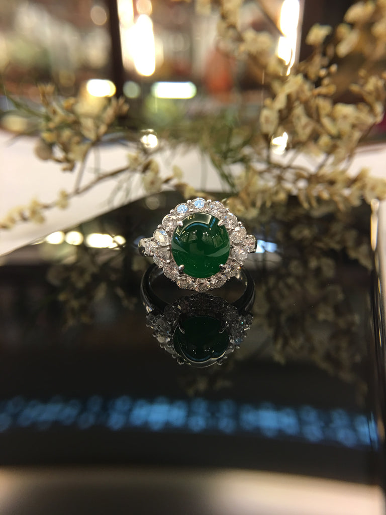 Green Jade Ring - Cabochon (RI172)