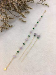 Lavender With Green Jade - Bracelet & Earrings  (BR041)