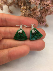 Dark Green Jade Earrings - Triangle Shaped (EA163)