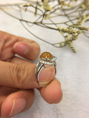 Icy Reddish Yellow Cabochon Jade Ring - Heart (RI015)