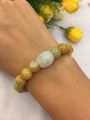 Icy Barrel & Yellow Beads Bracelet (BR113)