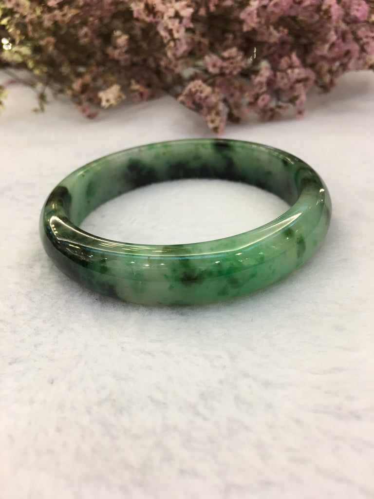 Dark Green Jade Bangle - Round (BA117)