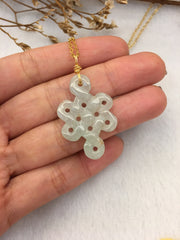 Icy Green Jade Necklace - Eternity Knot (NE072)