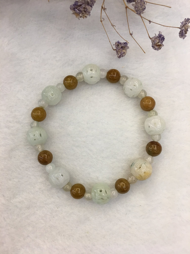 Icy With Yellow Jade Bracelet - Coin (BR196)