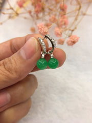 Green Jade Ball Earrings (EA112)