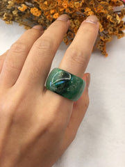 Dark Green Jade Hololith Ring (RI297)