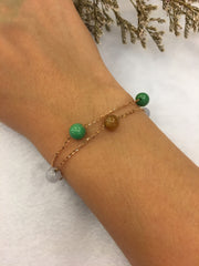 Three Colours Jade Bracelet - Beads (BR001)