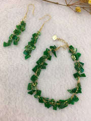 Green Jade Earrings - Irregular (EA279)