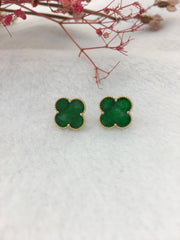 Green Jade Earrings - Clover (EA202)