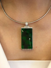 Dark Green Jade Pendant - Rectangular (PE256)