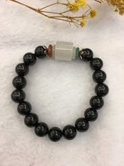 Icy Jade Barrel & Black Jade Bracelet (BR129)
