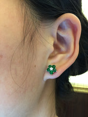 Green Earrings - Flower (EA135)