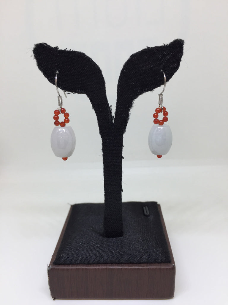 Icy White Earrings - Barrel (EA142)