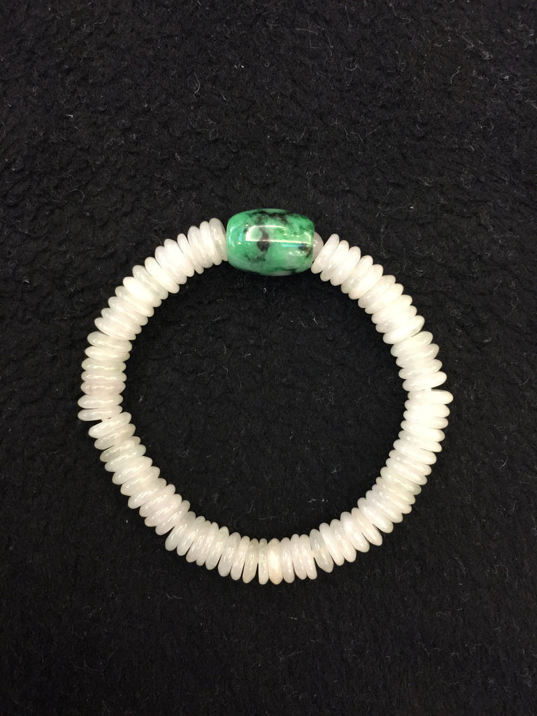 Icy White Bracelet - Green Barrel (BR048)