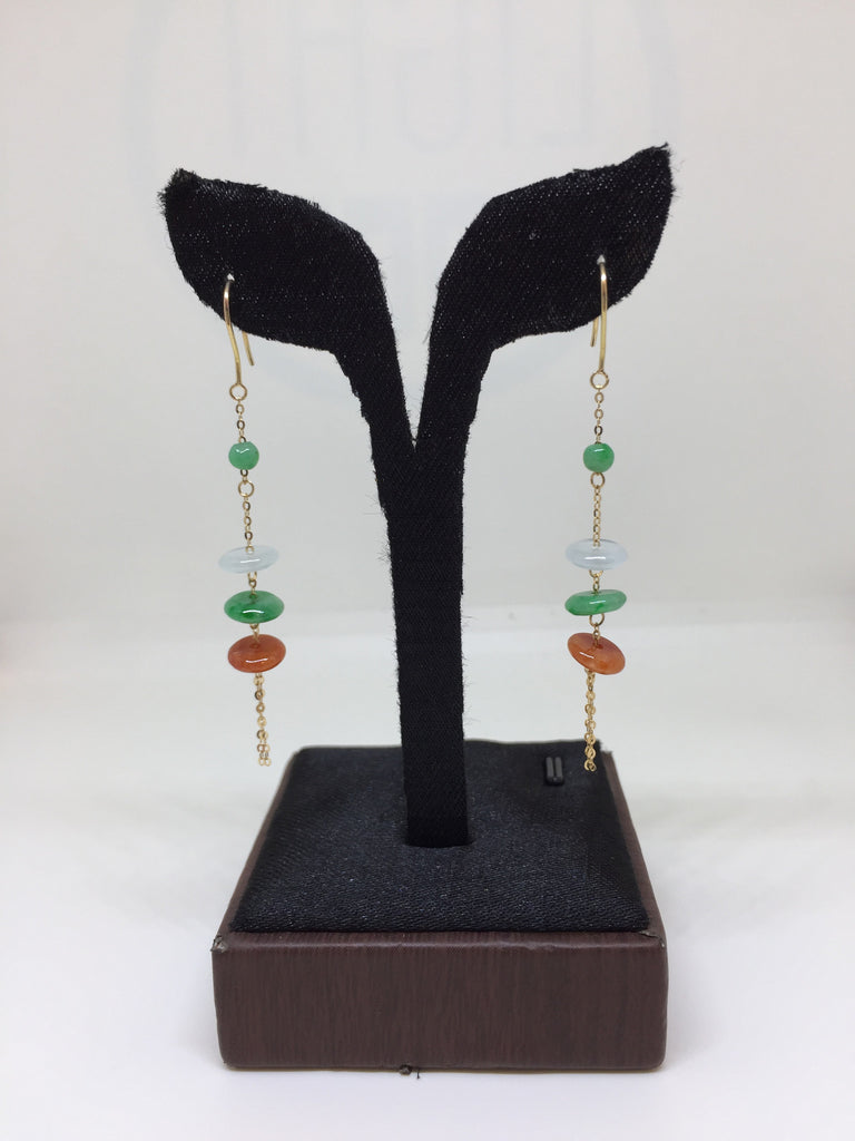 Three Coloured Earrings - Abacus Shape (EA152)