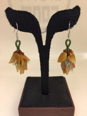 Yellow & White Earrings - Leaf (EA161)