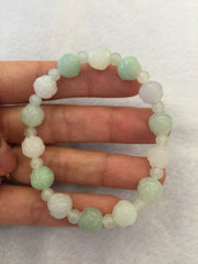 Icy White & Green Bracelet - Lotus (BR021)