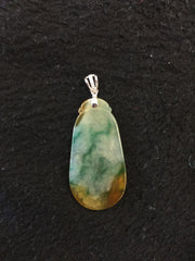 Yellow With Green Pendant - Oval (PE065)