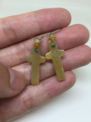 Yellow Earrings - Cross (EA122)