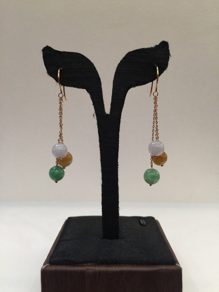 Three Coloured Earrings - Round (EA001)