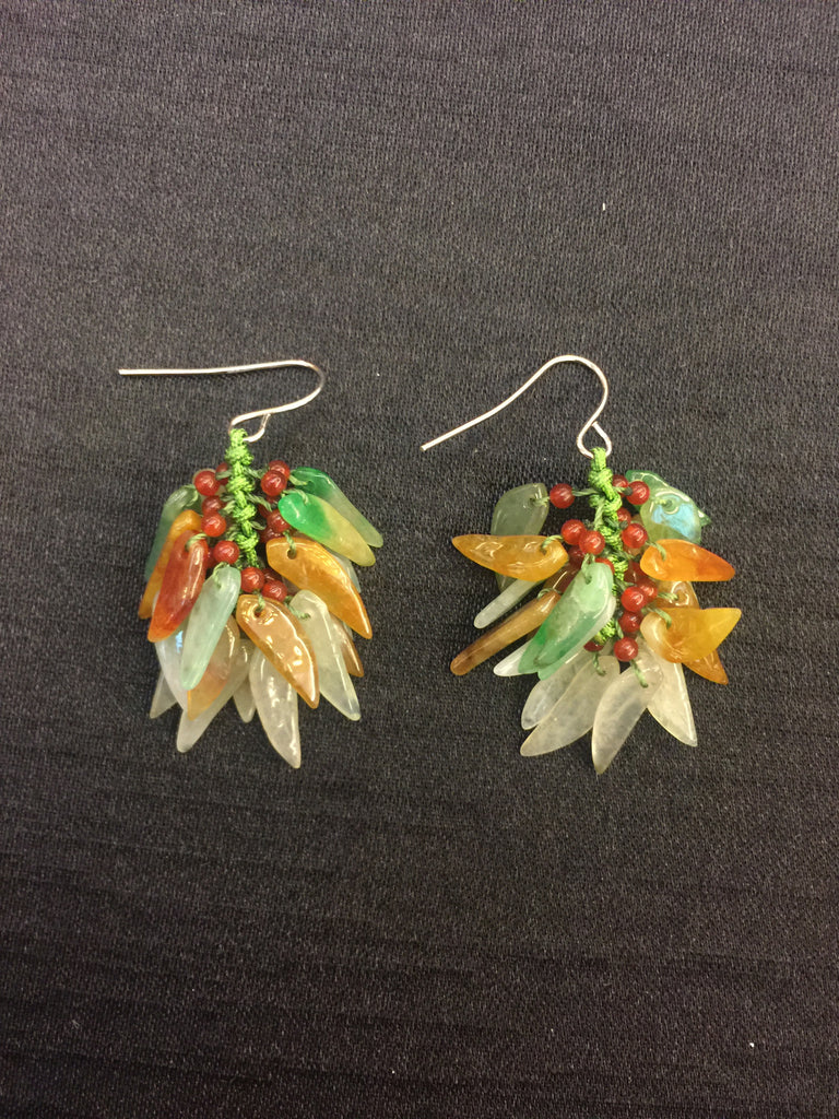 Multi-coloured Earrings - Leaf (EA091)