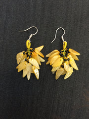Yellow Earrings - Leaf (EA031)