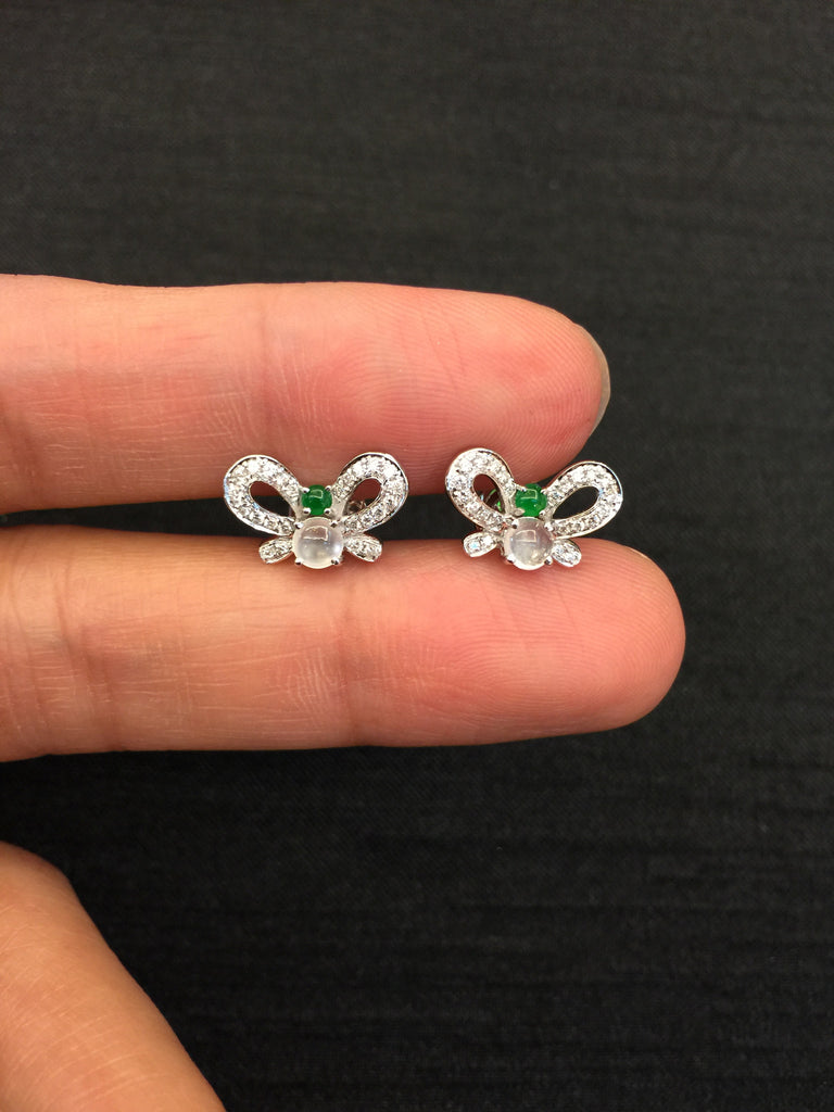 Green & White Earrings - Butterfly (EA039)