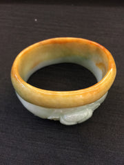 Yellow Bangle - Oval with Carving (BA017)