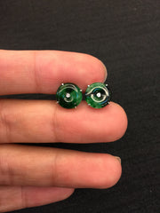 Green Earrings - Coin (EA040)