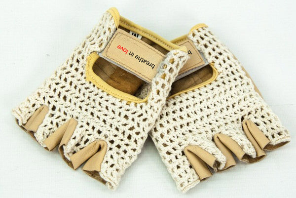 Breathe in Love Padded Leather Fingerless Cotton Crochet Cycling Gloves