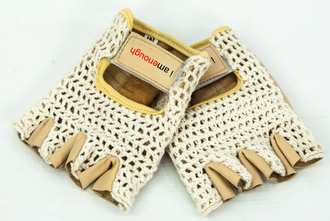 I am Enough Padded Leather Fingerless Cotton Crochet Cycling Gloves