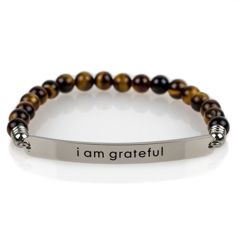 Yoga Mat | Premium Quality Unique Mats I am grateful Bracelet - Affirmats