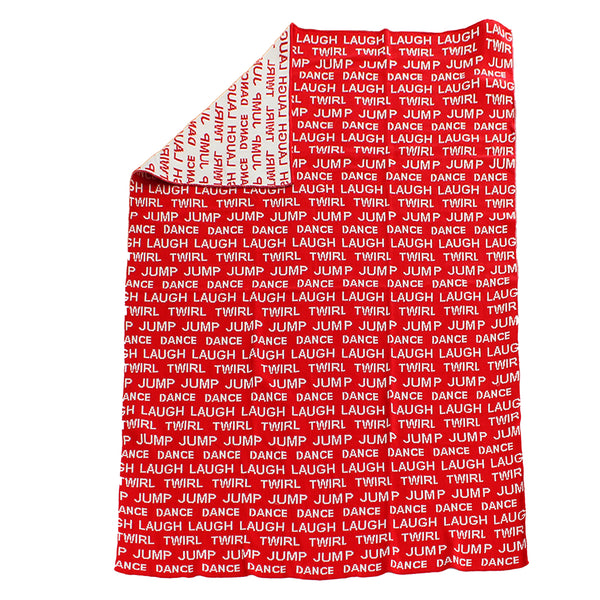 Laugh loud red and white Knitted baby blanket