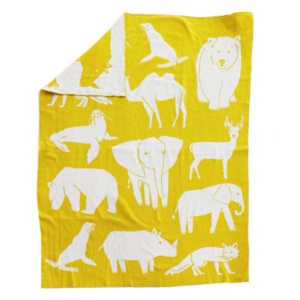 Zoo yellow Knitted baby blanket