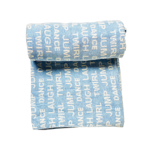 Laugh loud blue and white Knitted baby blanket