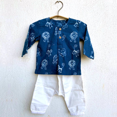 Organic Cotton Zoo- Kurta and White Pajama Pants Set