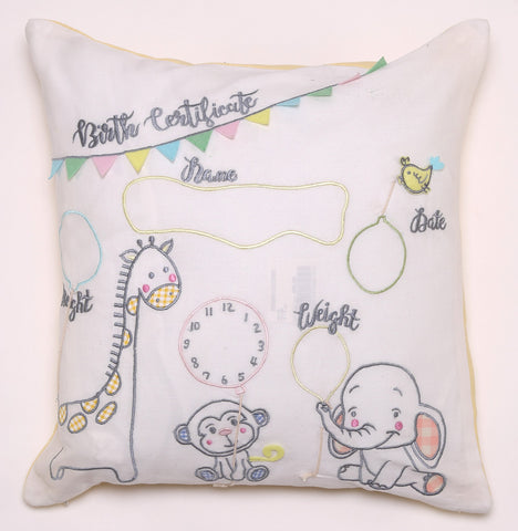 Birth Certificate - Cushion Cover Yellow
