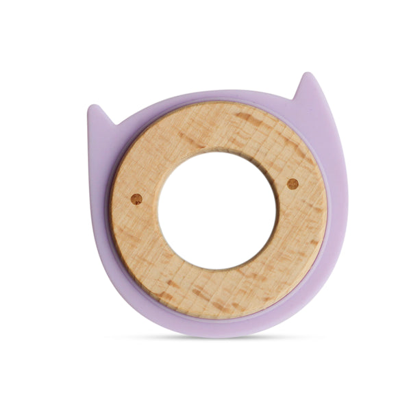 Wood + Silicone Disc Teether-Purple Kitty