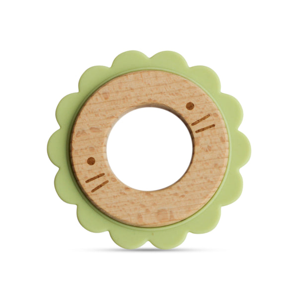 Wood + Silicone Disc Teether- LION