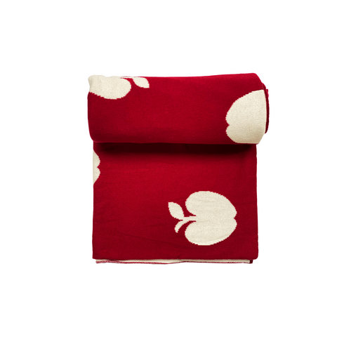 Apple affair red and white Knitted baby blanket