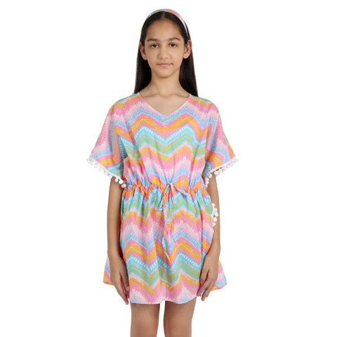 Chevron Print Pure-cotton Cover-up