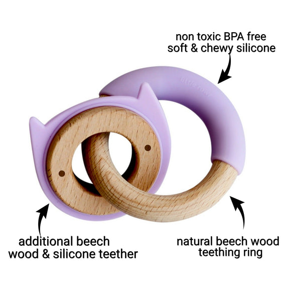 Wood + Silicone Disc & Ring Teether -Purple Kitty