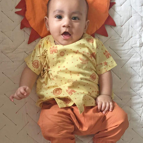 Organic Cotton Angarakha and Pyjama Pants Set