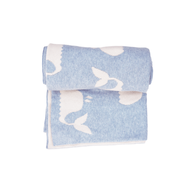 Dolphin ice white Knitted baby blanket