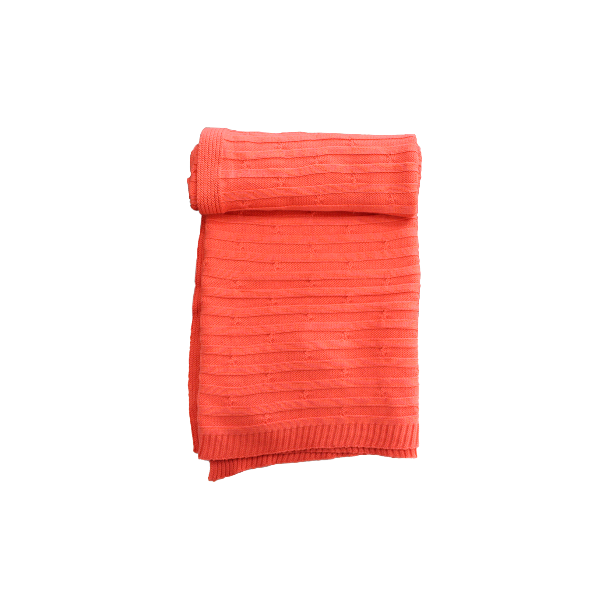 Dream cable coral Knitted baby blanket