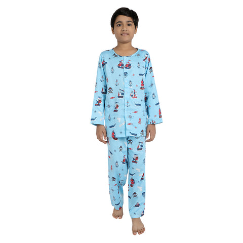 Explorer Print Pure-Cotton Nightsuit