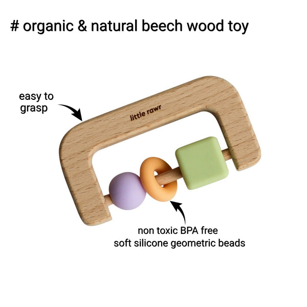 Wood + Silicone Bead D Shape Teether Toy