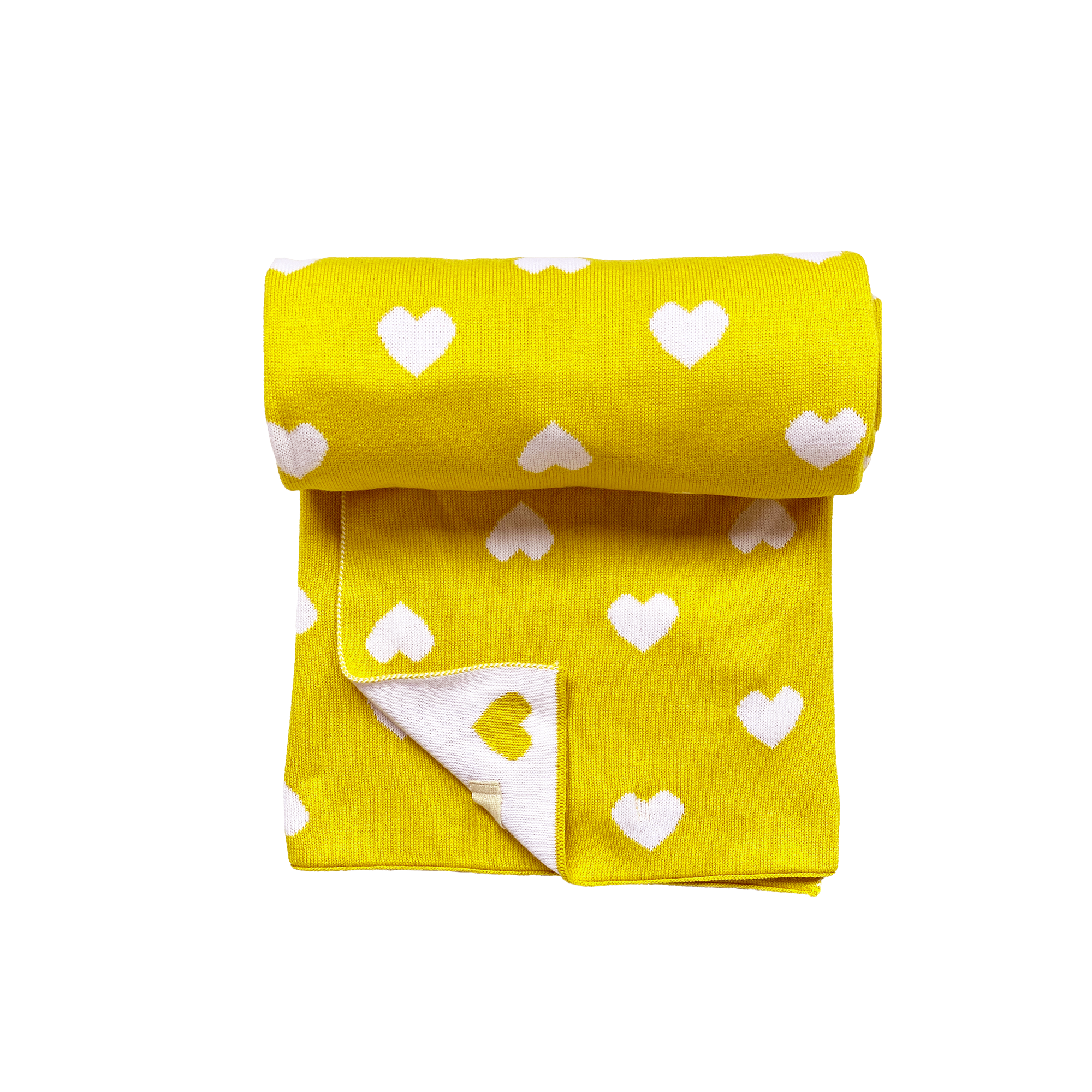 Little hearts yellow and white Knitted baby blanket